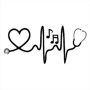 Adesivo - Heartbeat Music Batimento Cardíaco Desenho
