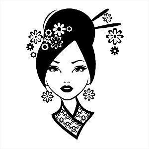 Adesivo - Gueixa Japonesa Mulher Japanese Woman Desenho