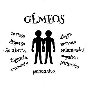 Adesivo - Gêmeos Gemini Signos Do Zodíaco Signs Personalidade