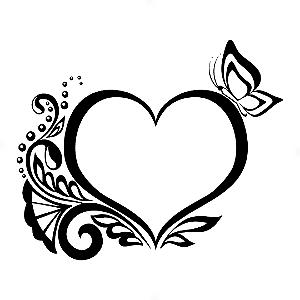 Adesivo - Coração Heart Borboleta Butterfly