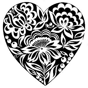 Adesivo - Coração Heart Flores Flowers