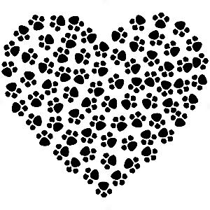 Adesivo - Coração Hear Patas Patinhas Paws Pets
