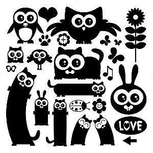Adesivo - Cartela Pássaros Corujas Flores Animais Animals Birds Owls Flowers