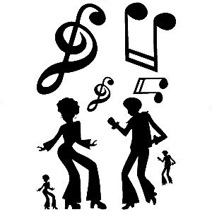 Adesivo - Cartela Música Music People Dancing Pessoas Dançando