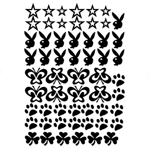Adesivo - Cartela Stars Playboy Butterflies Paws Shamrocks Estrelas Borboletas Patinhas Trevos