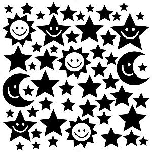 Adesivo - Cartela Céu Noite Sol Lua Estrela Star Moon Sun Night Sky