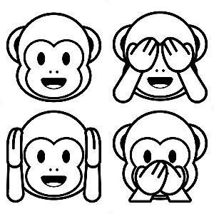 Adesivo - Cartela Emojis Monkeys Macaquinhos