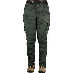 Calça Tática Militar Feminina Fem-Tac Camuflada Multicam Black Bélica