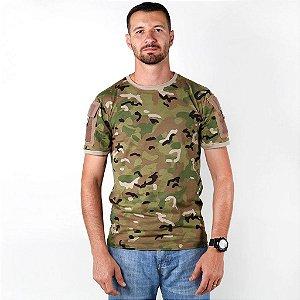 Camiseta Tática Masculina Ranger Camuflada Multicam Bélica