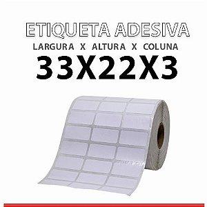 ROLO ETIQUETA  BOPP ADESIVA 33X22x3 MM