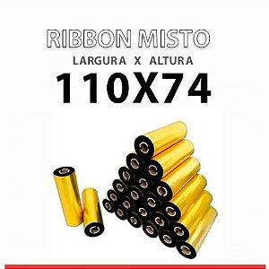 Caixa com 24 Ribbon Misto na cor Amarela 110mm x 74 metros