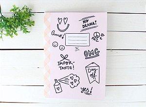Caderno Flex Fun Icons Rosa - Pautado