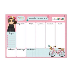 Bloco Planner Semanal Happy