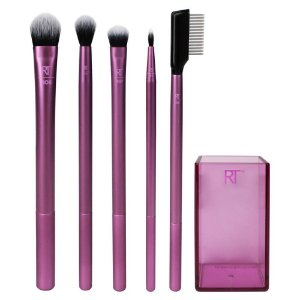 Real Techniques Enhanced Eye Set Kit - 5 Pincéis Para Olhos + Brush Cup
