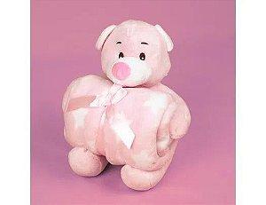 Manta Bebe Pelucia Infantil Ursinho Rosa