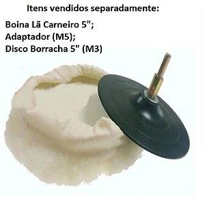 """Boina 5"""" Lã Carneiro p/ Polimento, Disco e Adaptador (Vendidos Separadamente)"""