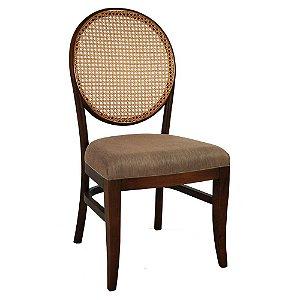 Cadeira França assento estofado e encosto em palha