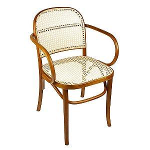 Cadeira Meridien com braços assento e encosto em palha