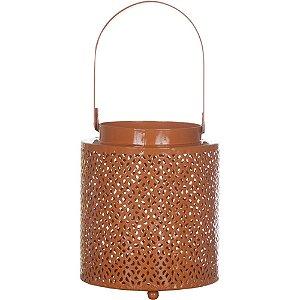 Lanterna de Metal Arabesque Laranja Grande - 12,5x15cm