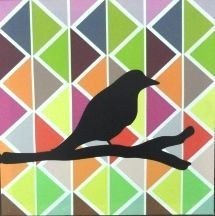 Quadro Pássaro 30x30x3cm
