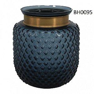 Vaso de Vidro Azul com Detalhe Dourado