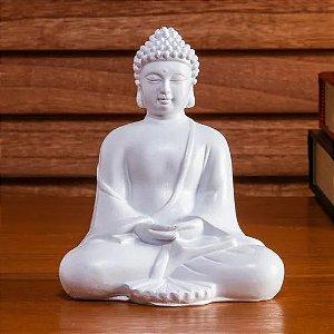 Escultura Buda Tendai Branco - 12 cm