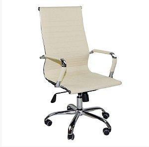 Cadeira Escritório Presidente Giratória Charles Eames Cor Creme