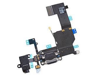 Cabo Flex Flat Iphone 5G Dock Conector Carga Usb Preto