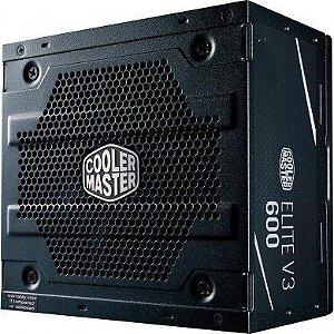 Fonte de Alimentação Atx Desktop 600W Elite V3 Full Range Cooler Master