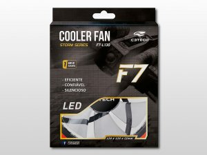 Cooler Gabinete 12cm F7-L130RD Storm Preto Led Vermelho C3tech