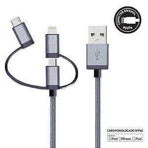 Cabo MultiCable 3 em 1 – Lightning (MFi) Micro-USB | USB-C com 1,5 metros LMC31GR - Geonav