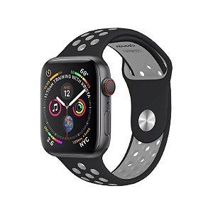 Pulseira para Apple Watch Sport 42/44 Silicone Preta e Cinza WBS44BG - Geonav