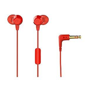 Fone de Ouvido C50HI Vermelho In ear com fio e microfone - Cabo 1,2m c/ conector P2 - JBL