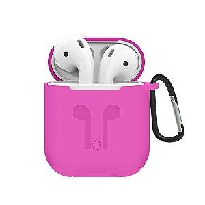 Capa de Proteção para AirPods c/ cordão de Segurança Rosa Neon - Gshield
