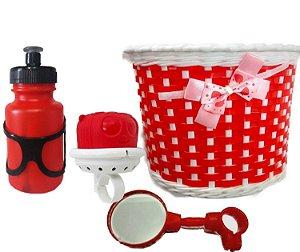 Cestinha Buzina Garrafinha Espelho Vermelha P/bike Infantil