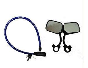 Cadeado Tranca Trava Mais Espelho Retrovisor Bicicletas