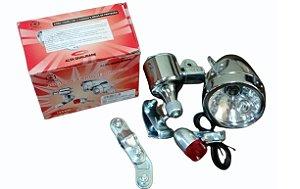 Farol Com Dínamo suportes e Luz Traseira 12V 6W Modelo Antigo.