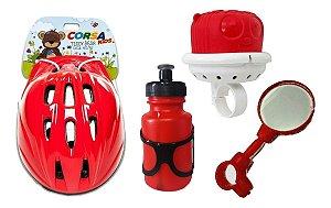 Capacete Espelho Garrafa,buzina Kit Infantil Bicicleta