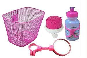 Cestinha Garrafinha Buzina E Espelho Kit Infantil Rosa