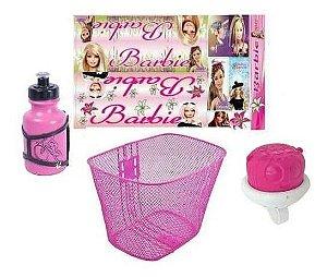 Cestinha Buzina Garrafinha Adesivo Barbie Para Bicicletas