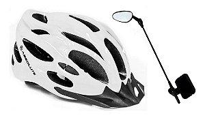 Kit Capacete Com Led E Regulagem Com Espelho Para Ciclistas