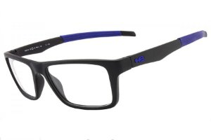 Óculos de Grau HB Polytech 93119/49 Preto Fosco Detalhe Azul