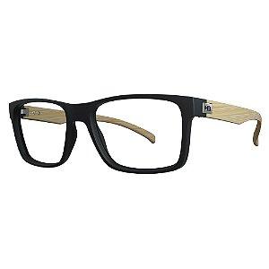 Óculos de Grau HB 0339 - Preto / Madeira - Clip On Polarizado
