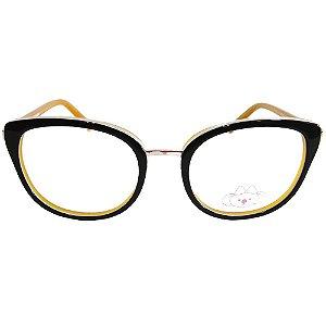 Óculos de Grau Lilica Ripilica VLR095 C06/47 Preto/Mostarda