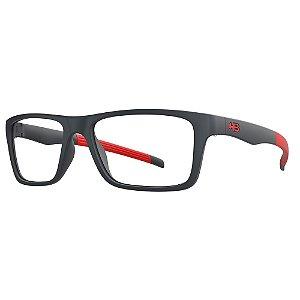 Óculos de Grau HB Polytech 93119/49 Grafite Detalhe Vermelho