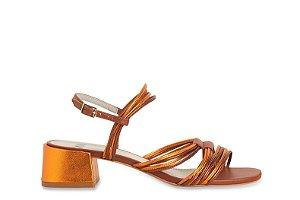 Sandália Tirinhas Rolotês Metal Color Bronze