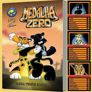 Medalha Zero Nº 2 - Garra versus Sombra - história em quadrinhos + 3 cards colecionáveis