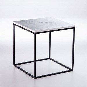 Mesa Lateral Cubo Preto - Tampo Branco