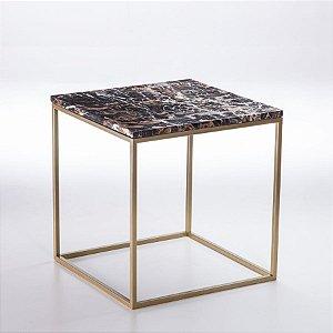 Mesa Lateral Cubo Ouro - Tampo Ebony