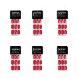 Unhas Postiças Auto Colante Vermelho Hello Mini OY174-55 – Kit c/ 06 unid